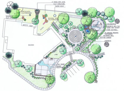 First congregational church master plan memorial garden mary weber landscape architecture Site plan design